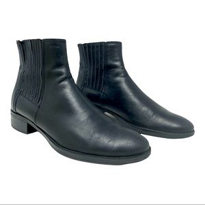 GEOX Respira Black Leather Chelsea Ankle Boots Size 39